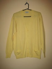 Benetton Butter Yellow 100% Pure Lambswool Cardigan Sweater Large Ita