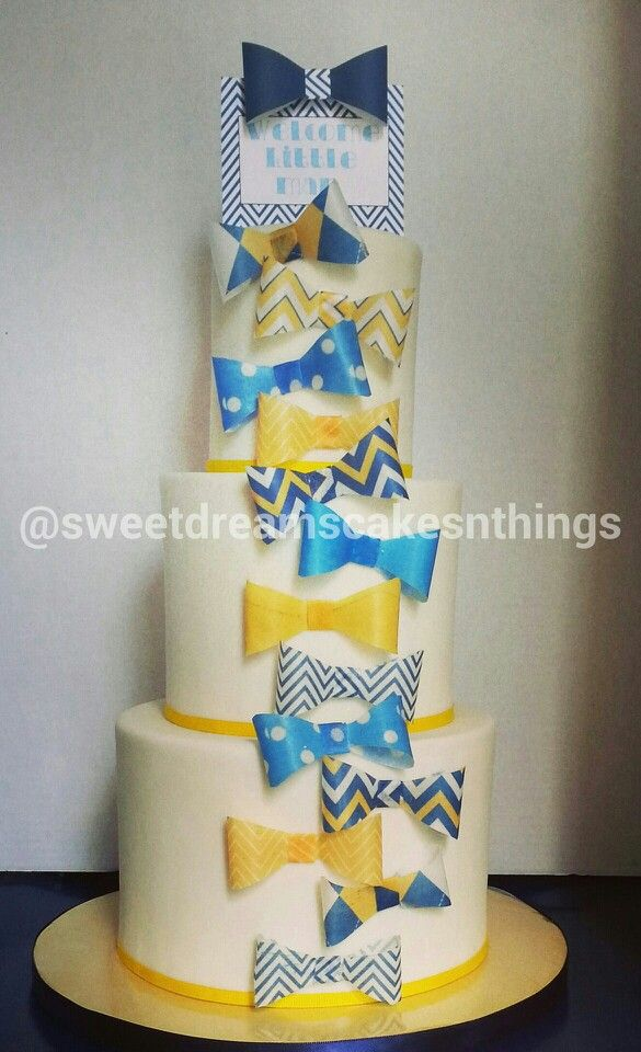 bow tie themed baby shower cake all things cake pinterest