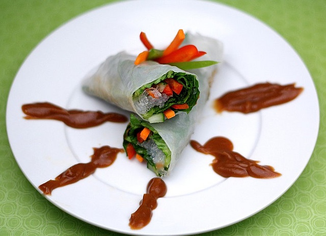 vegetable spring rolls with peanut dipping sauce | Vegan | Pinterest