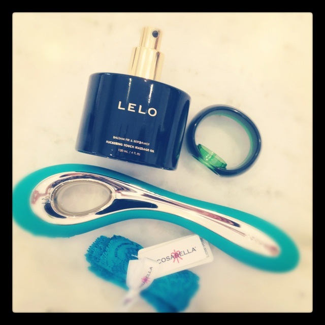 LELO: vibes, massage oils and candles, suede cuffs, ticklers. NIPPIES: couture pasties. COSABELLA: lace thong