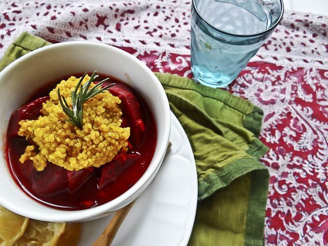 "Beetroot & Maitake Stew with Turmeric Quinoa. ""Beetroot, onion, lemo..."