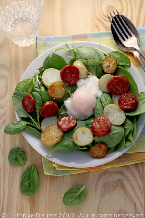 Spinach, Chorizo & Baby Potato Salad with Sous Vide Poached Egg