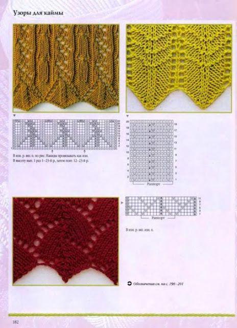 Ажурный край вязания на спицах