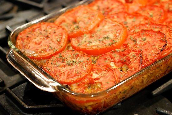 eggplant tomato and mozzarella baked orzo