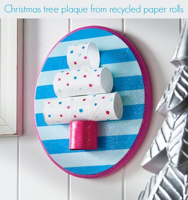 Easy kids craft - recycled toilet paper roll Christmas tree plaque