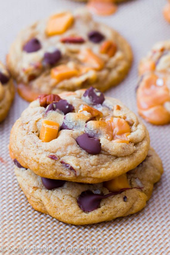 Soft-Baked Salted Caramel Pecan Chocolate Chip Cookies. These will ...