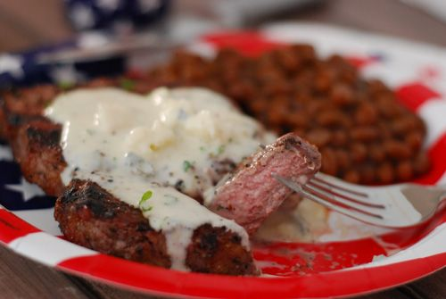 Grilled Ribeyes with Gorgonzola Sauce
