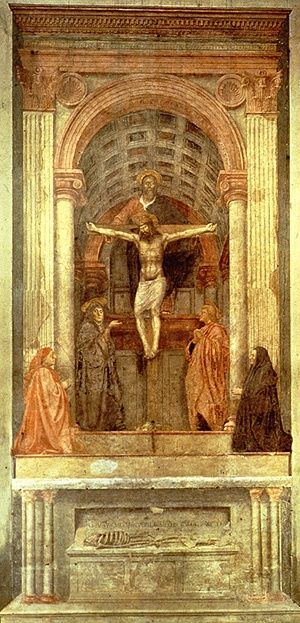 an analysis of the holy trinity by masaccio in 1428 Masaccio: holy trinity (santa maria masaccio treated the space in his holy trinity as more than (bronze, 1440s - after 1428) detail, head and chest.