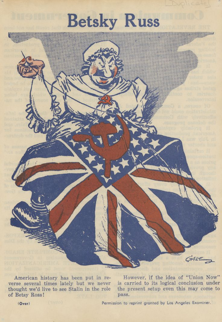 """Featuring a caricature of Joseph Stalin in the attire of a colonial woman (sewing a flag, à la Betsy Ross), this is a reprint of an article entitled """"Communism in Government"""". Jewish Federation Council of Greater Los Angeles Collection.  In Our Own Backyard: Resisting Nazi Propaganda in Southern California, 1933-1945."""