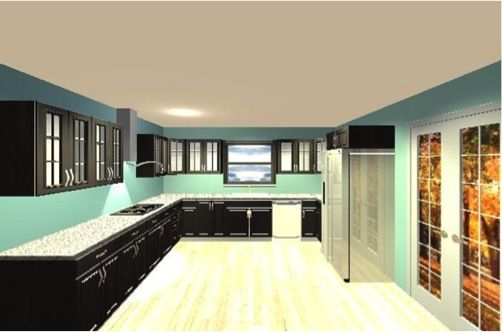 Black cabinets, teal wall  Love!  LOVE LOVE LOVE IT!!!!  Pinterest