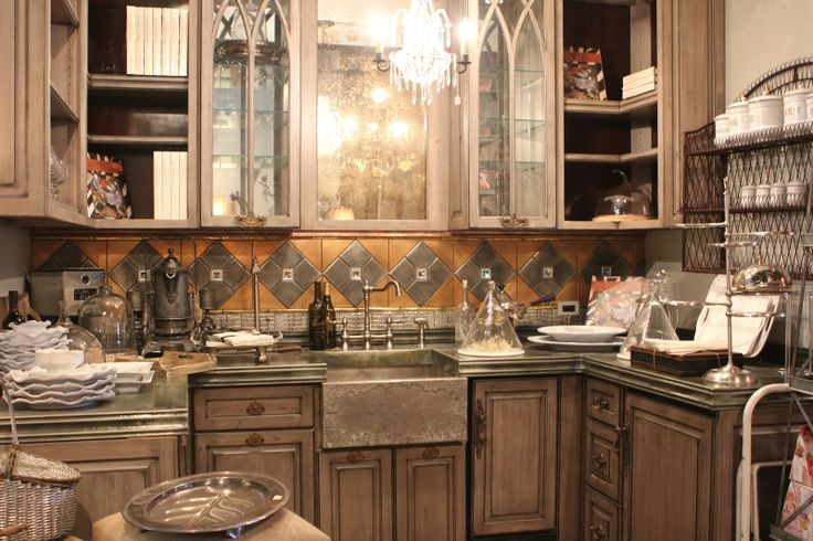 Distressed+Knotty+Alder+Cabinets | The cabinets are grayish taupe ...