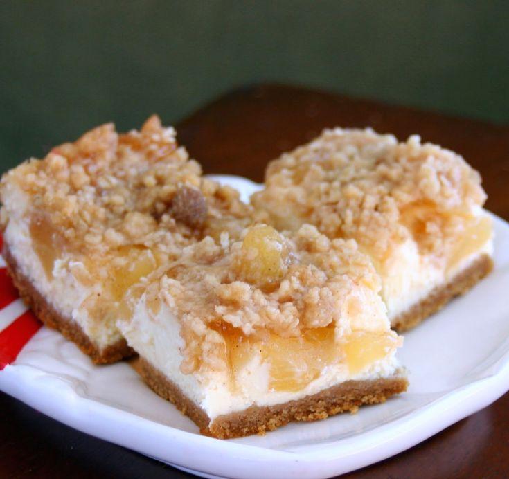 Caramel Apple Streusel Cheesecake Bars | Nom Nom Nom | Pinterest