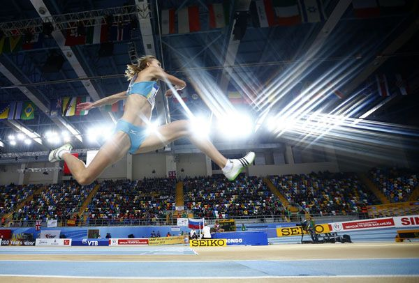 Marija Sestak of Slovenia competes in the women's triple jump qualification during the world indoor athletics championships at the Atakoy Athletics Arena in Istanbul March 9, 2012.   REUTERS/Pawel Kopczynski