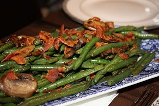 Green Beans with Bacon and Mushrooms {HotDinnerHappyHome.blogspot.com}
