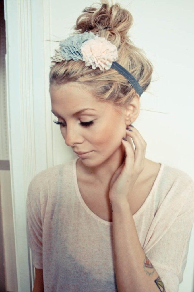Headband and topknot.