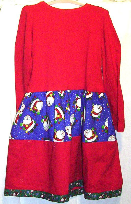 Girls holiday dress size l 6 6x red quot tress with santas on blue quot and