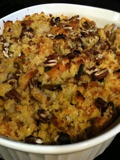 Vegetarian cornbread stuffing with leeks, fakin' bacon, pecans, squash ...