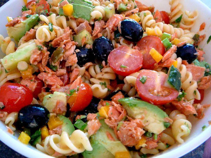 salmon pasta salad | salads and drinks | Pinterest