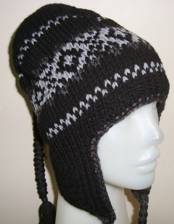 Knitting Pattern For Mens Hat With Ear Flaps : Homemade Hand Knitted Womens Hat Wool Ear Flap hat in black, grey, da?