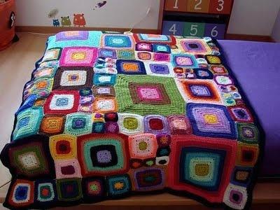 colcha a cuadros crochet
