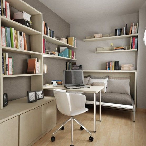 Small office space furniture layout! Desk could also serve as dining table.