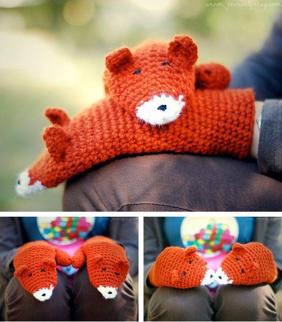 crochet fox mittens