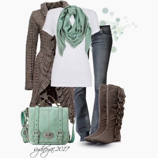Fashionable combine of Brown cardigan, Jeans, shirt, Boots, and a Handbag