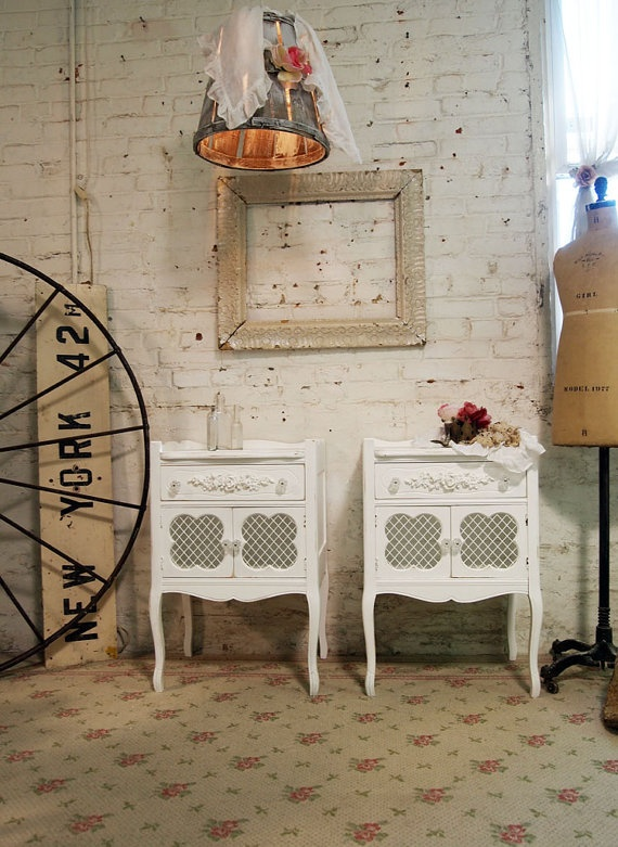 Painted Cottage Chic Shabby White Pair of by paintedcottages, $390.00