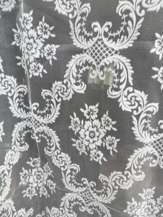 Vintage Sheer White Velvet Damask Curtain by LikeFrostingOnTop, $15.00