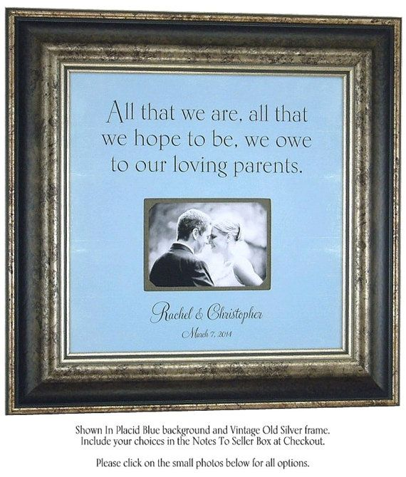 Personalized Wedding Picture Frames For Parents : Personalized Wedding Picture Frame Parents Gift bridal shower ...