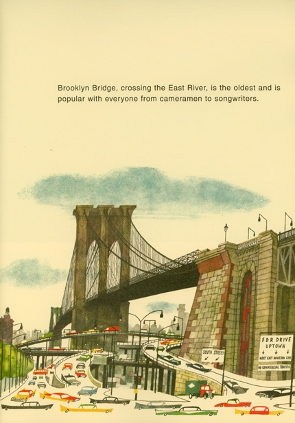 Brooklyn Bridge - This Is New York by Miroslav Sasek (1961)