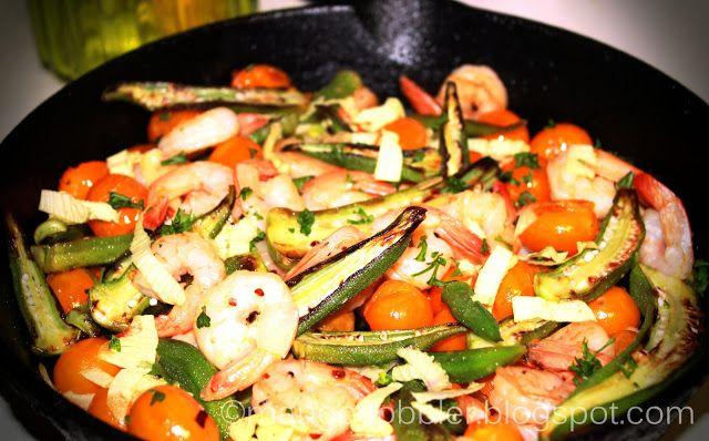 Skillet-Roasted Okra and Shrimp | Food Cravings | Pinterest