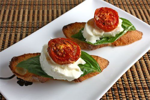 Burrata Crostini with Roasted Tomatoes!!! This cheese is D licious!!!