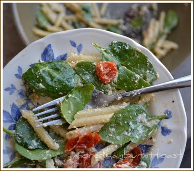 Roasted Asparagus and Tomato Penne Salad with Ricotta