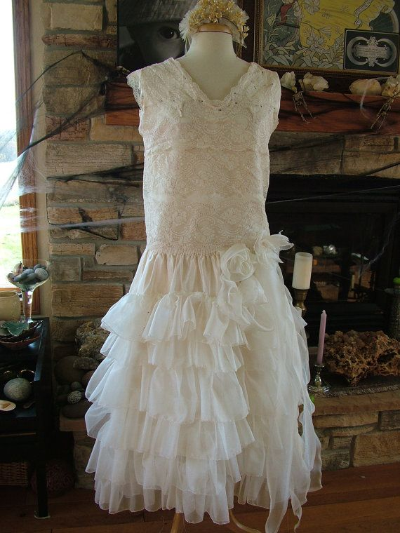 1920s vintage inspired wedding dress bridal gown flapper wedding dress