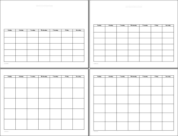 template for calendar