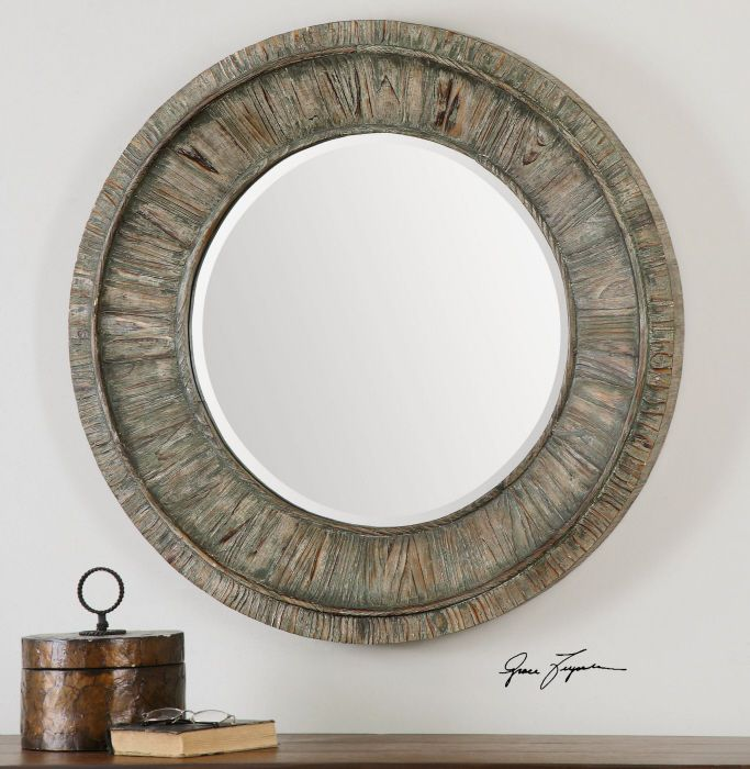 Large rustic sage gray wood round beveled wall mirror 36 for Round wood mirror