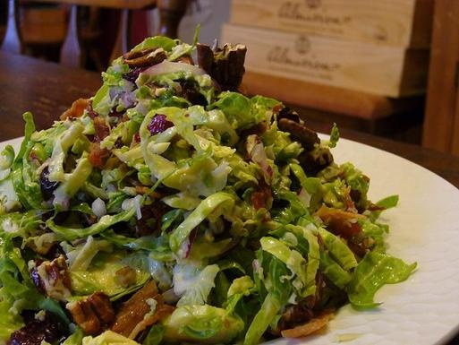 Brussels Sprout Salad with Maple Dressing, good, minus the bacon and ...