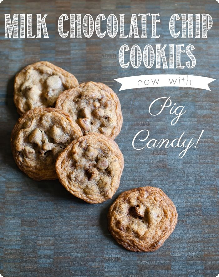 milk chocolate chip cookies with pig candy (candied bacon) and pecans!