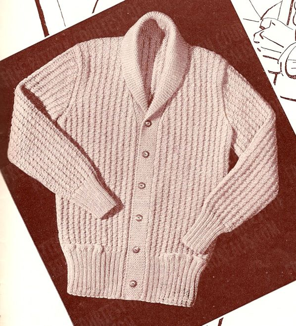 Mens Shawl Collar Sweater Knitting Pattern : Vintage mens sweater pattern Knit-Craft Pinterest