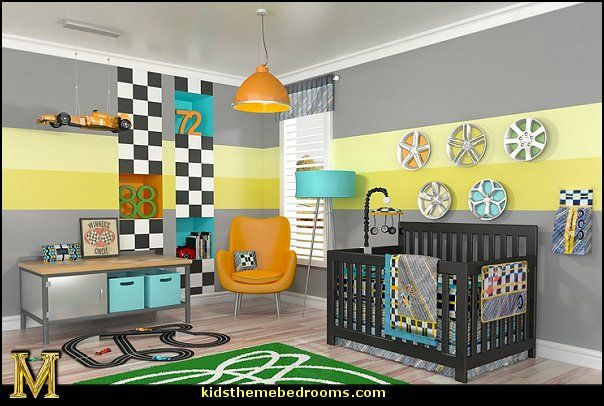Car racing theme bedrooms boys sports bedroom decorating ideas
