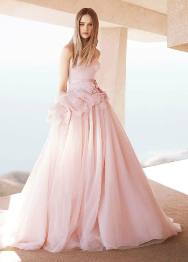 Spotlight coloured and non white wedding dresses for Pink wedding dress vera wang