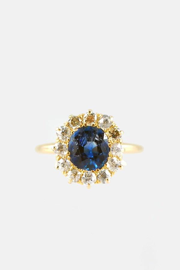 Antique Cushion Cut Sapphire and Diamond Ring