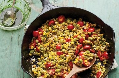 Skillet Corn, Edamame, and Tomatoes with Basil Oil Recipes. #Recipes