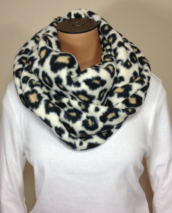 animal cheetah print fleece infinity scarf