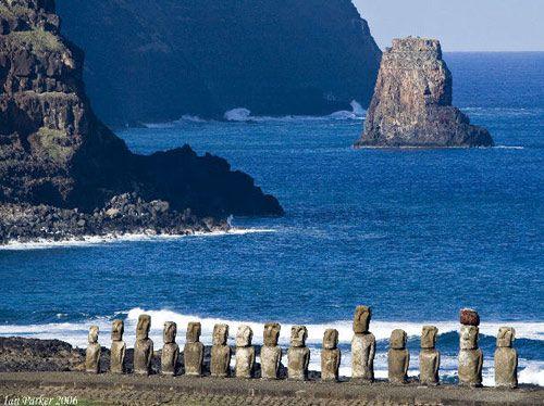 Những Moai dựng cạnh bờ biển trên đảo phục sinh
