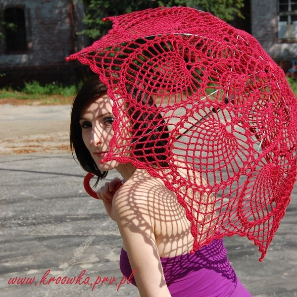 10 BUCKS OFF, Crochet parasol, rose red umbrella, victorian style, for ...