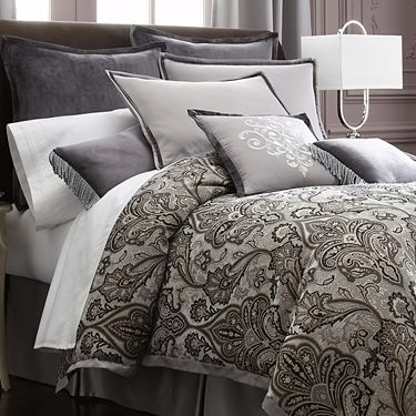 Royal velvet lourdes gray 4 pc comforter set black gray for Grey velvet comforter