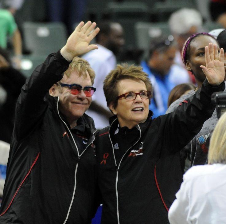 Game, set, match. Elton John and tennis great Billie Jean King hit the court during the Mylan World TeamTennis matches on Nov. 17 in Lake Buena Vista, Fla.