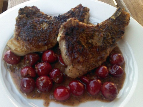 Lamb Chops with Sour Cherry & Mustard Sauce